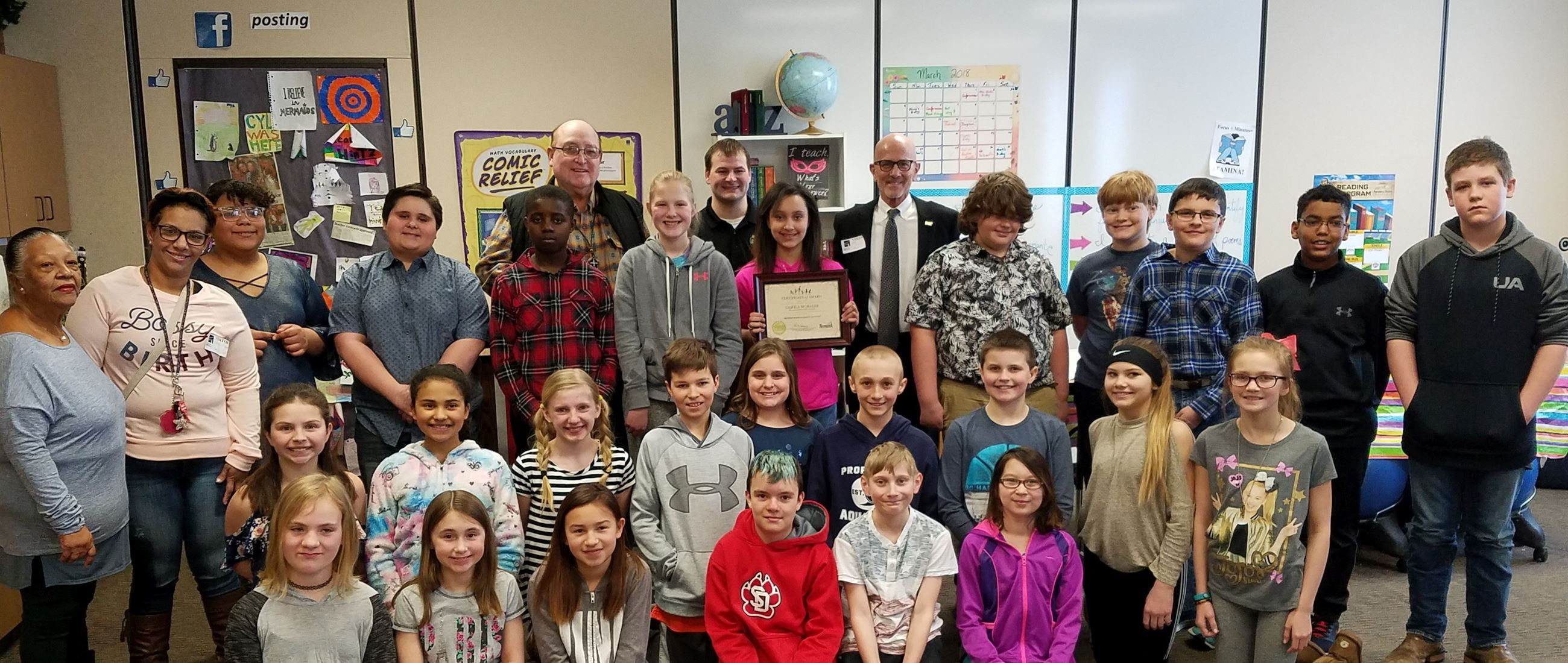 C. Morales Essay Contest award recipient Miller Elementary class