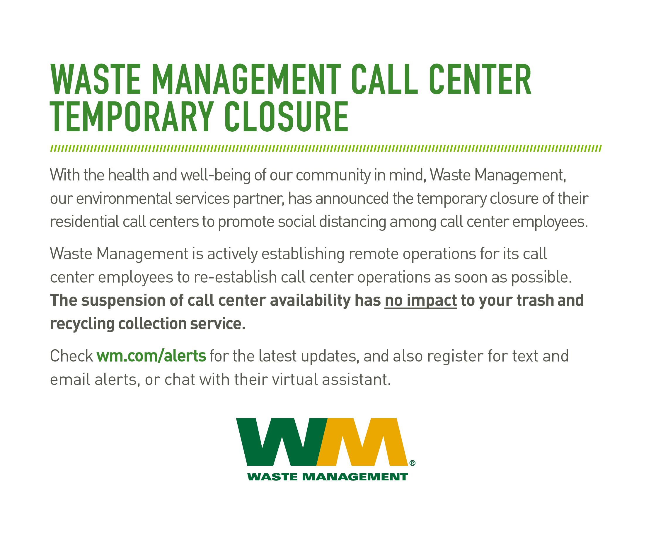 Waste Management Call Center Temporary Closure 3 19 2020